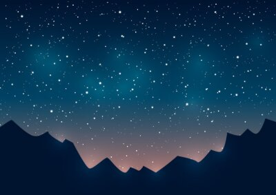 Bild Berge Silhouetten auf Sternenhimmel Hintergrund
