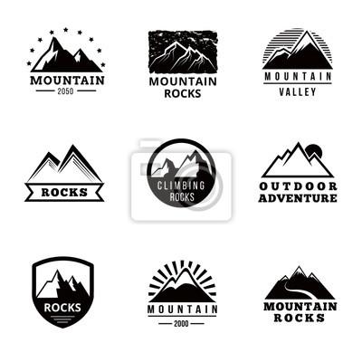 Bild Berge Vektor-Logo, Abzeichen und Embleme Vektor gesetzt. Abenteuer im Freien, Expeditionsberg, Abzeichen Klettern Berg schneebedeckt, Peak Mountain Label Illustration