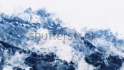 Bild Bergspitze im Winter schmerzt im blauen Ton auf weißem Hintergrund, digitale Aquarellmalerei