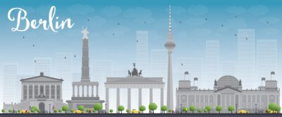 Bild Berlin skyline with grey building and blue sky.