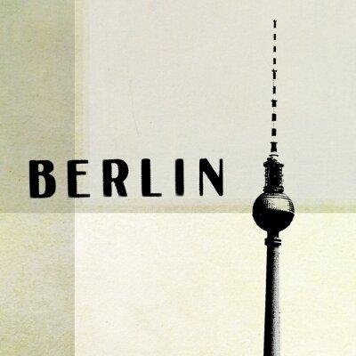 Bild Berlin Vintage Postkarte - Fernsehturm und Buchstaben auf abstrakte backg
