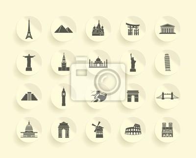 Berühmte Denkmal icons Set