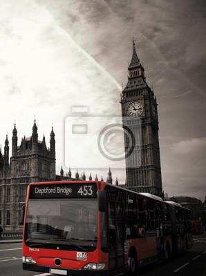 """Bild Berühmte Wahrzeichen """"Big Ben"""" mit rotem Bus in London, UK"""