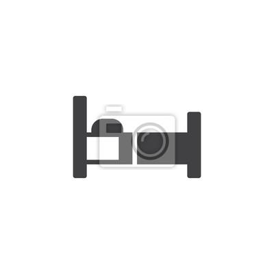 Bett Icon Vektor Gefullt Flache Zeichen Solide Piktogramm Isoliert