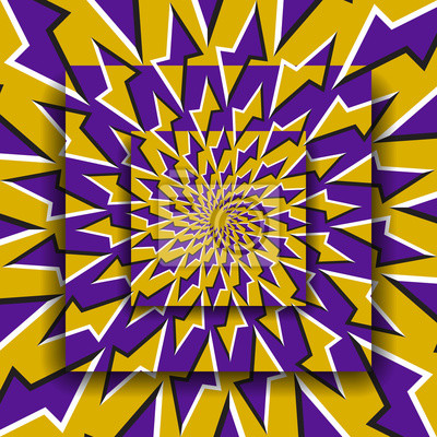 Bewegliche Plattformen mit einem kreisförmigen Muster. Hintergrund der optischen Täuschung.