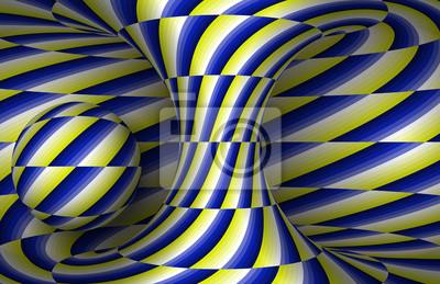 Bewegliche Spirale Hyperboloid und Kugel. Vektor-Illustration der optischen Täuschung.