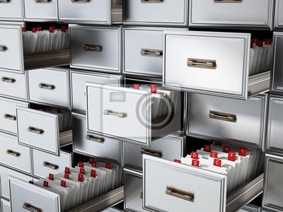 Bild Bibliothekskatalog Holzschublade mit Buchstaben. 3D-Darstellung