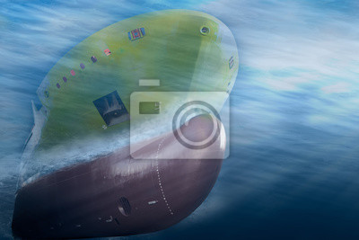 Bild Big cargo ship sailing in the sea to International Shipping container terminal. Close up image detail ships bow, underwater view.