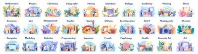 Bild Big school subject or educational class set. Student studying social