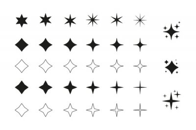 Bild Big set of star icon, magic spark for graphic or product design.
