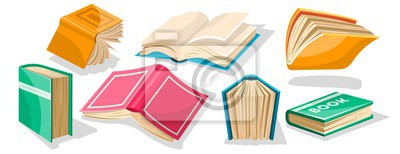 Bild Big set with red, yellow, green, blue opened and closed textbooks, business diaries, workbooks in different positions. World book and copyright day concept. Vector cartoon icons on white.