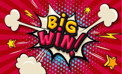 Bild Big Win! Pop art cloud bubble. Funny speech shopping sale icon bubble. Trendy Colorful retro vintage comic background in pop art retro comic style. Illustration easy editable for Your design.