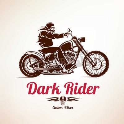 Bild Biker, Motorrad-Grunge-Vektor-Silhouette, retro Emblem und Etikett