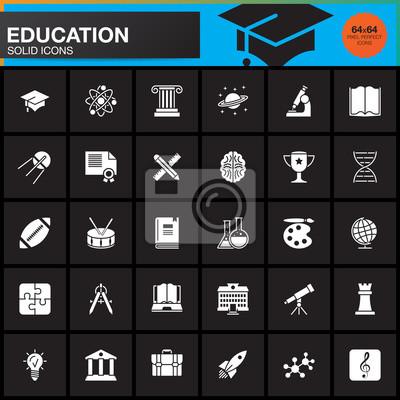 Bild Bildung Vektor Symbole Gesetzt, Moderne Solide Symbol Sammlung, Schule  Piktogramm Pack Isoliert Auf