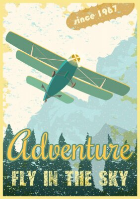 Bild Biplane retro poster