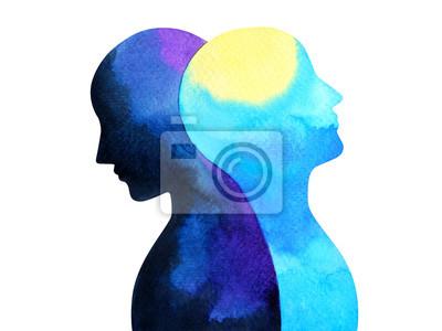 Bild bipolare Störung Geist psychische Gesundheit Verbindung Aquarell Malerei Illustration Handzeichnung Design Symbol