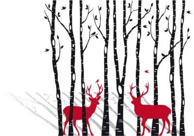 Bild Birken mit Weihnachten Hirsche, Vektor