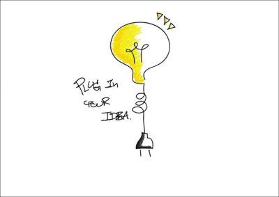 Bild Birne-Symbol mit Idee Grafik