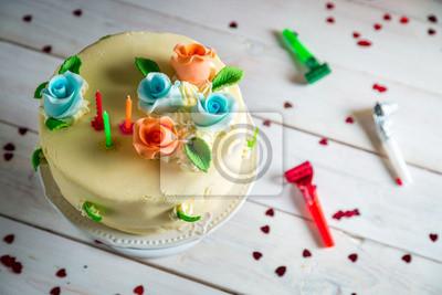 Birthday Cake Made Of Marzipan Leinwandbilder O Bilder Backwaren