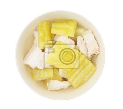 Bild bitterer Kürbis-Suppe mit Schweinebauch