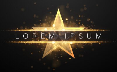 Bild Black and gold star shape background with glow effect