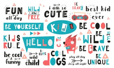 Bild Black and white and colored set of hand drawn motivation quotes, phrases and words. Graphic design for t-shirt print, posters, greeting cards. Vector illustration. Cool dogs theme.