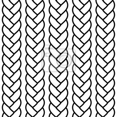 Bild Black and white braided rope seamless pattern, vector