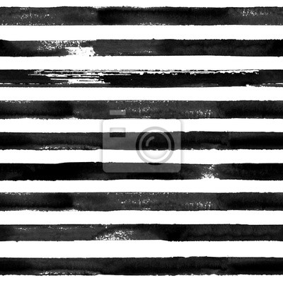 Bild Black and white watercolor striped seamless pattern texture background