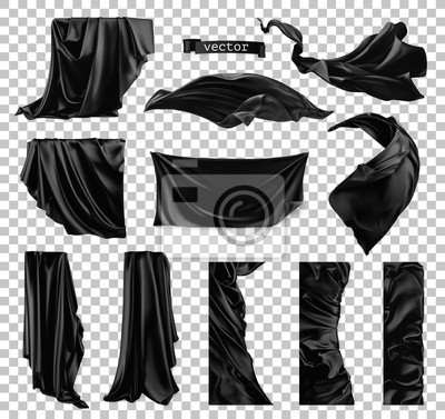Bild Black curtain vectorized image. Drapery fabric 3d realistic vector set