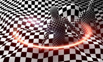 Black end White checkered man