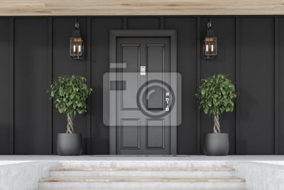 Bild Black front door of black house with trees