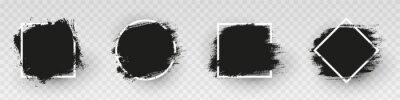Bild Black grunge backgrounds with white frame. Dirty artistic design elements, frames for text. Paint, ink brush strokes, brushes splashes - stock vector.