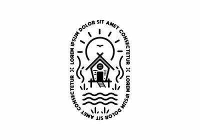 Bild Black line art of simple house with lorem ipsum text