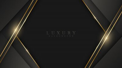 Bild Black luxury background with glitter gold lines, minimal scene, empty space for use showcase beauty and cosmetics product or text. 3d Vector illustration.