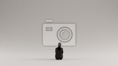Bild Black Mysterious Witch Woman Sitting Down 3d illustration 3d render