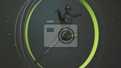 Black plastic human body inside abstract green circle. Kung Fu, karate combat sports. Action jump pose. 3D rendering illustration
