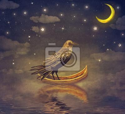 Black Raven in einem Boot am Fluss magische Nacht, Illustration Kunst