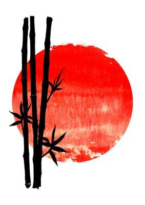 Bild Black silhouette of bamboo plants on big red sun