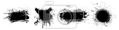 Bild Black splashes grunge with frame. Dirty artistic design elements, boxes, frames for text. Black splashes isolated on white background. Set of black paint, ink brush strokes, brushes, lines. Vector
