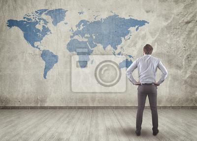 Blackboard mit Weltkarte