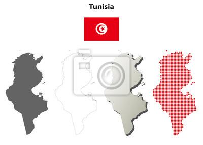 Blank detailed contour maps of Tunisia