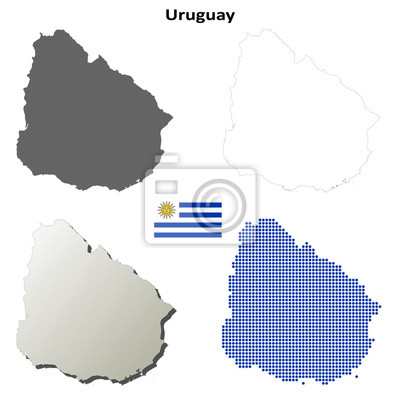 Blank detailed contour maps of Uruguay