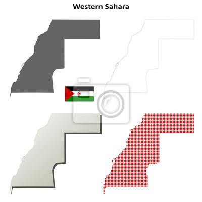 Blank detailed contour maps of Western Sahara
