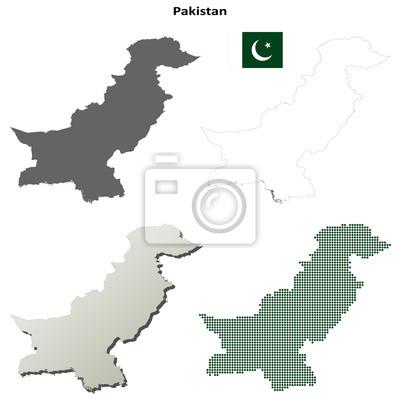 Blank detaillierte Karten von Pakistan Kontur