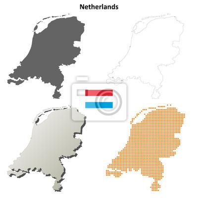 Blank detaillierte Konturkarten der Niederlande