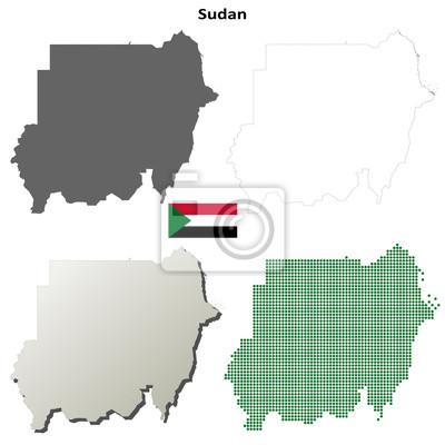 Blank detaillierte Konturkarten des Sudan