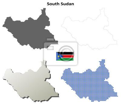 Blank detaillierte Konturkarten des Südsudan