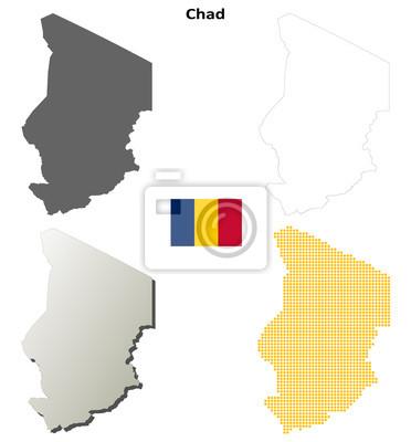 Blank detaillierte Konturkarten des Tschad