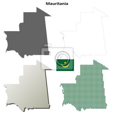 Blank detaillierte Konturkarten Mauretanien