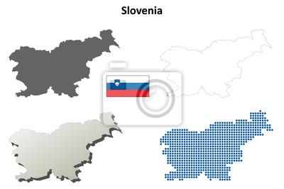Blank detaillierte Konturkarten Slowenien
